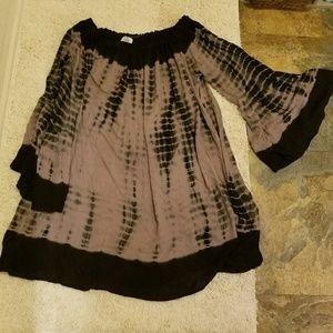Forever21 3x plus bell sleeve dress tunic tie dye